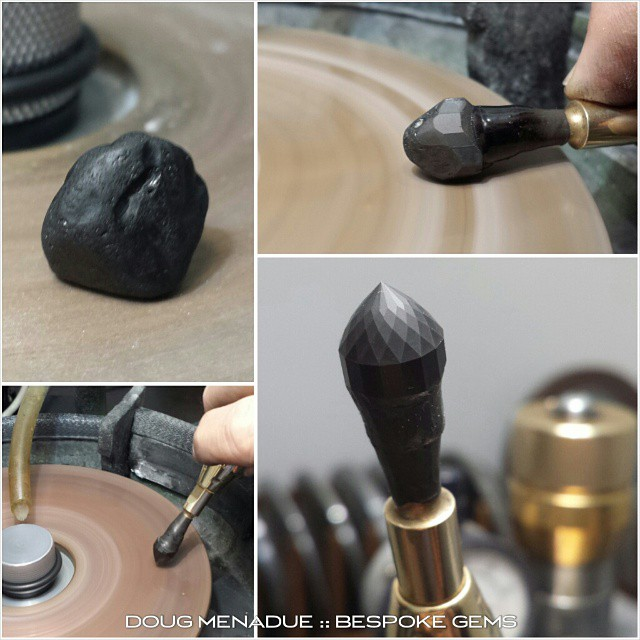 Working on a nice piece of black spinel that was hand dug by the client.  I'm faceting this stone in the classic Portuguese Cut. Black spinel loves a design with lots of facets.  WWW.BESPOKE-GEMS.COM - Precision Gemcutting and Lapidary Services Located In Sydney Australia