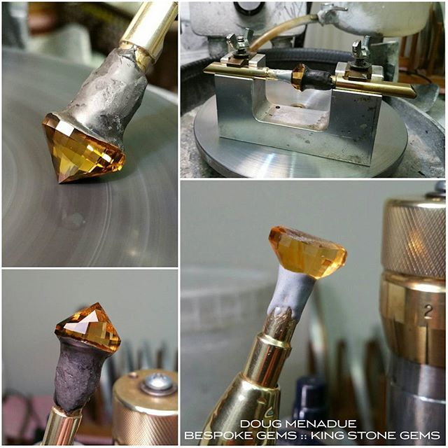 Working on the pavilion of this fine piece of golden citrine. This material is always a pleasure to cut. I like the way I continually see glimpses of bright golden colour as i move the stone backwards and forwards across the lap. It's a beautiful color and when cut properly and in a good design,  golden citrine truly is one of the most beautiful gems you could hope to see. Forget all about value, rarity and all the other mundane marketplace considerations, when taken purely on the beauty of its play of color, its radiant golden hues, a fine piece of citrine is really an absolutely glorious thing.  WWW.BESPOKE-GEMS.COM  WWW.KINGSTONEGEMS.COM  SYDNEY CBD AUSTRALIA - Precision Gemcutting and Lapidary Services Located In Sydney Australia