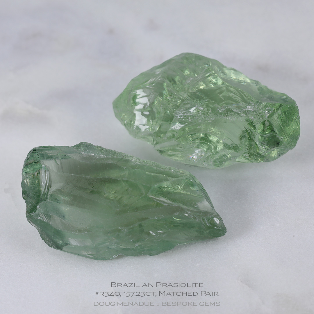 #r340, Green Prasiolite, Carving Gem Rough, 157.23 Carats, 13.16X13.11X10.41mm - Doug Menadue :: Bespoke Gems - WWW.BESPOKE-GEMS.COM - Precision Gemcutting and Lapidary Services In Sydney, Australia