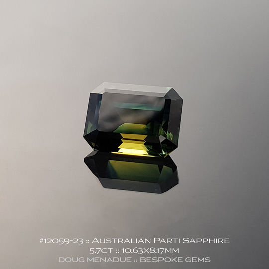 12059-23, Australian Sapphire, Emerald Cut, 5.70 Carats, 10.63X8.17X6.33mm, Blue - A beautiful natural Australian Sapphire from the gemfields around Rubyvale, Central Queensland, Australia - Doug Menadue :: Bespoke Gems :: WWW.BESPOKE-GEMS.COM - Finest Quality Precision Custom Gemcutting and Lapidary Services Based In Sydney Australia