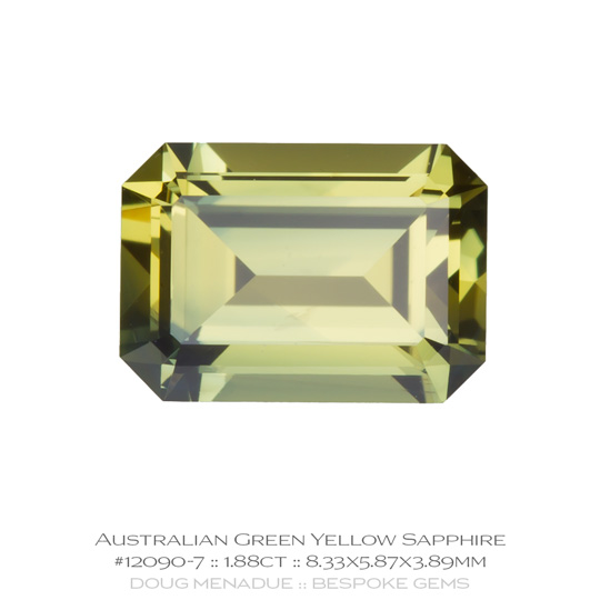 #12090-7, Green Yellow Sapphire, Emerald Cut, 1.88 Carats, 13.16X13.11X10.41mm - A beautiful natural Rubyvale, Central Queensland, Australian Sapphire - Doug Menadue :: Bespoke Gems - WWW.BESPOKE-GEMS.COM - Precision Gemcutting and Lapidary Services In Sydney Australia
