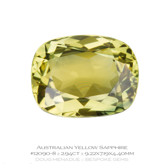 #12090-8, Yellow Sapphire, Rectangle Cushion, 2.94 Carats, 13.16X13.11X10.41mm - A beautiful natural Rubyvale, Central Queensland, Australian Sapphire - Doug Menadue :: Bespoke Gems - WWW.BESPOKE-GEMS.COM - Precision Gemcutting and Lapidary Services In Sydney Australia