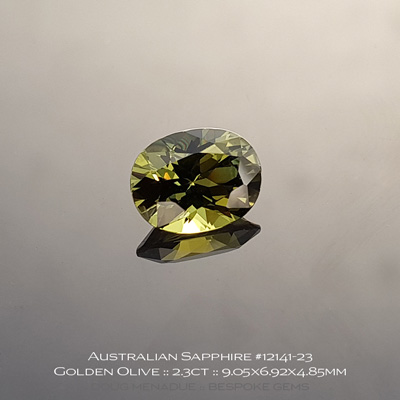12141-23, Australian Sapphire, Oval, 2.30 Carats, 9.05x6.92x4.85mm, Golden Olive - A beautiful natural Australian Sapphire from the gemfields around Rubyvale, Central Queensland, Australia - Doug Menadue :: Bespoke Gems :: WWW.BESPOKE-GEMS.COM - Finest Quality Precision Custom Gemcutting and Lapidary Services Based In Sydney Australia
