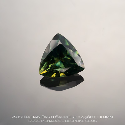 12146-3, Australian Sapphire, Trillion, 4.58 Carats, 10.14X10.24X6.20mm, Parti Colour Green Yellow - A beautiful natural Australian Sapphire from the gemfields around Rubyvale, Central Queensland, Australia - Doug Menadue :: Bespoke Gems :: WWW.BESPOKE-GEMS.COM - Finest Quality Precision Custom Gemcutting and Lapidary Services Based In Sydney Australia