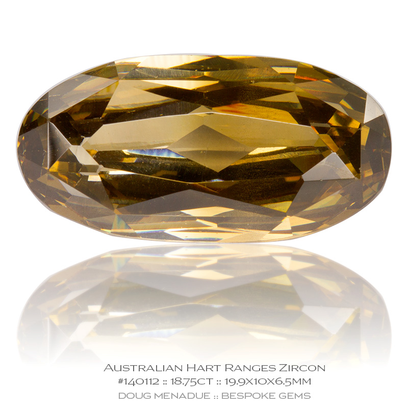 #140112, Golden Champagne Zircon, Oval, 18.75 Carats, 13.16X13.11X10.41mm - Doug Menadue :: Bespoke Gems - WWW.BESPOKE-GEMS.COM - Precision Gemcutting and Lapidary Services In Sydney Australia