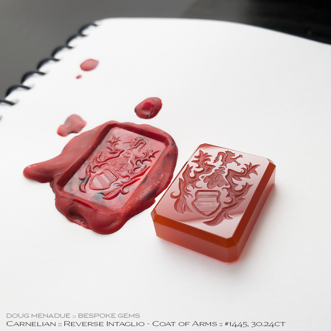 #1445, Red Carnelian, Coat of Arms - Reverse Intaglio, 30.24 Carats, 13.16X13.11X10.41mm - Doug Menadue :: Bespoke Gems - WWW.BESPOKE-GEMS.COM - Precision Gemcutting and Lapidary Services In Sydney Australia