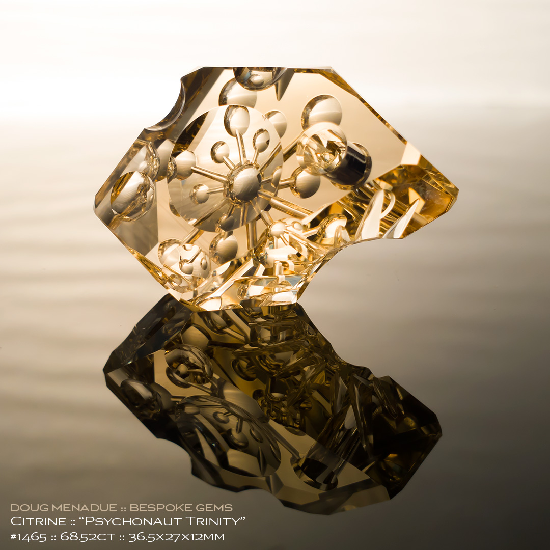 #1465, Yellow Citrine, Psychonaut Trinity - Carving, 68.52 Carats, 13.16X13.11X10.41mm - Doug Menadue :: Bespoke Gems - WWW.BESPOKE-GEMS.COM - Precision Gemcutting and Lapidary Services In Sydney Australia