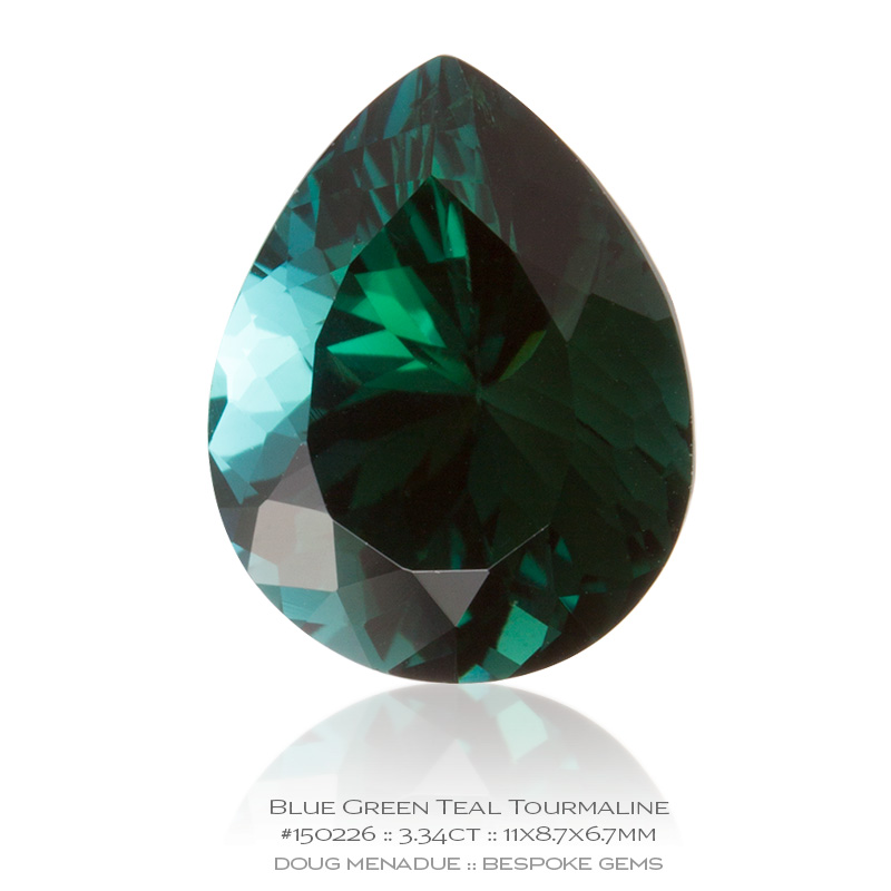 #150226, Blue Green Teal Tourmaline, Pear, 3.34 Carats, 13.16X13.11X10.41mm - Doug Menadue :: Bespoke Gems - WWW.BESPOKE-GEMS.COM - Precision Gemcutting and Lapidary Services In Sydney Australia