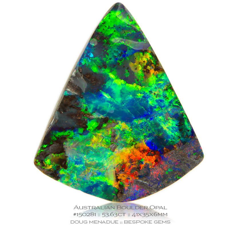 #150281, Yellow, Pink, Gold, Gree, Blue, Violet Boulder Opal, Triangle, 53.63 Carats, 13.16X13.11X10.41mm - Doug Menadue :: Bespoke Gems - WWW.BESPOKE-GEMS.COM - Precision Gemcutting and Lapidary Services In Sydney Australia