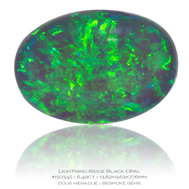 #150345, Neon Green Blue Black Opal, Oval Cab, 6.49 Carats, 13.16X13.11X10.41mm - Doug Menadue :: Bespoke Gems - WWW.BESPOKE-GEMS.COM - Precision Gemcutting and Lapidary Services In Sydney Australia