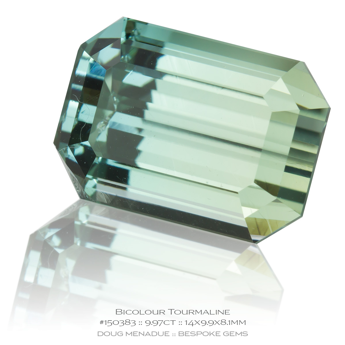 #150383, Bicolour Yellow Blue Tourmaline, Emerald Cut, 9.97 Carats, 13.16X13.11X10.41mm - Doug Menadue :: Bespoke Gems - WWW.BESPOKE-GEMS.COM - Precision Gemcutting and Lapidary Services In Sydney Australia