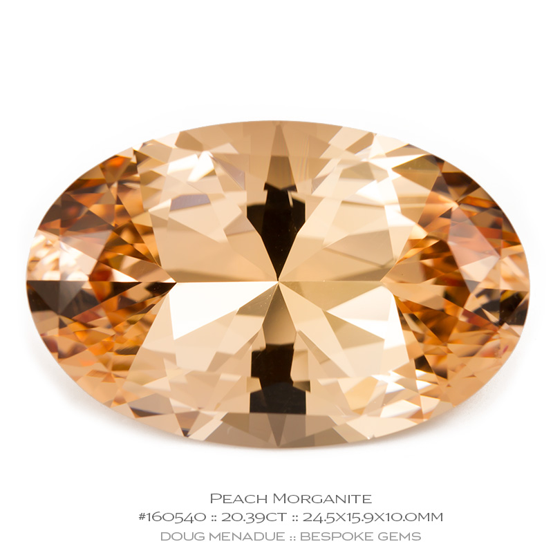 #160540, Peach Morganite, Oval, 20.39 Carats, 13.16X13.11X10.41mm - Doug Menadue :: Bespoke Gems - WWW.BESPOKE-GEMS.COM - Precision Gemcutting and Lapidary Services In Sydney Australia