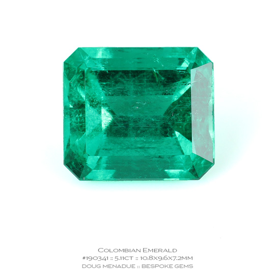 #190341, Green Emerald, Emerald Cut, 5.11 Carats, 13.16X13.11X10.41mm - A beautiful natural Colombia Colombia - Doug Menadue :: Bespoke Gems - WWW.BESPOKE-GEMS.COM - Precision Gemcutting and Lapidary Services In Sydney Australia