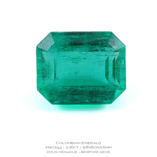 #190344, Green Emerald, Emerald Cut, 3.36 Carats, 13.16X13.11X10.41mm - A beautiful natural Colombia Colombia - Doug Menadue :: Bespoke Gems - WWW.BESPOKE-GEMS.COM - Precision Gemcutting and Lapidary Services In Sydney Australia