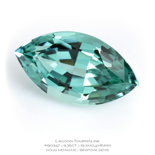 #190347, Lagoon Seafoam Minty Green Blue Tourmaline, Brilliant Marquise, 9.36 Carats, 13.16X13.11X10.41mm - A beautiful natural Namibia Namibia - Doug Menadue :: Bespoke Gems - WWW.BESPOKE-GEMS.COM - Precision Gemcutting and Lapidary Services In Sydney Australia