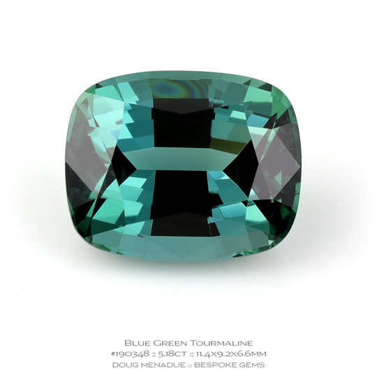 #190348, Blue Green Tourmaline, Rectangle Cushion, 5.18 Carats, 13.16X13.11X10.41mm - A beautiful natural Brazil Brazil - Doug Menadue :: Bespoke Gems - WWW.BESPOKE-GEMS.COM - Precision Gemcutting and Lapidary Services In Sydney Australia