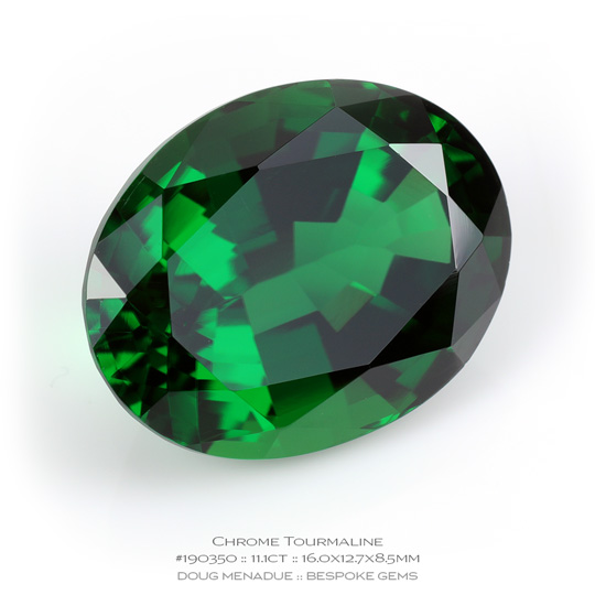 #190350, Chrome Green Chrome Tourmaline, Oval, 11.1 Carats, 13.16X13.11X10.41mm - A beautiful natural Tanzania Tanzania - Doug Menadue :: Bespoke Gems - WWW.BESPOKE-GEMS.COM - Precision Gemcutting and Lapidary Services In Sydney Australia