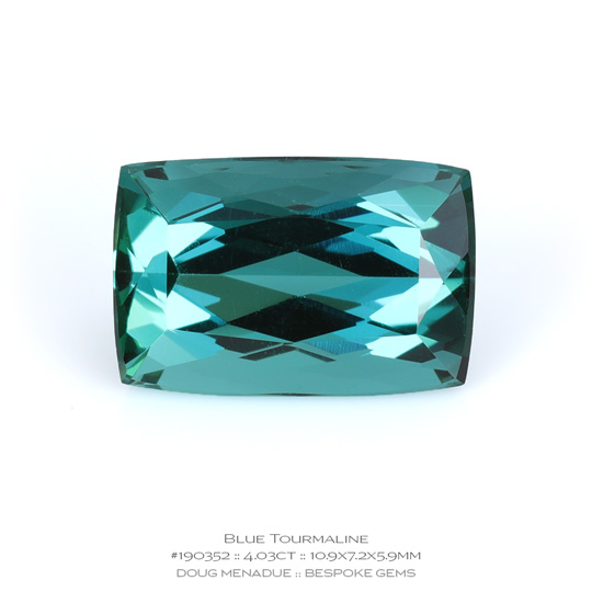 #190352, Blue Tourmaline, Rectangle Diamond Cushion, 4.03 Carats, 13.16X13.11X10.41mm - A beautiful natural Brazil Brazil - Doug Menadue :: Bespoke Gems - WWW.BESPOKE-GEMS.COM - Precision Gemcutting and Lapidary Services In Sydney Australia