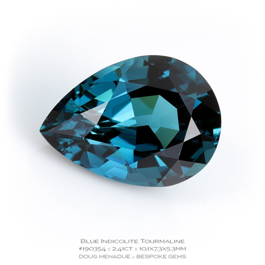 #190354, Blue Indicolite Tourmaline, Pear, 2.41 Carats, 13.16X13.11X10.41mm - A beautiful natural Namibia Namibia - Doug Menadue :: Bespoke Gems - WWW.BESPOKE-GEMS.COM - Precision Gemcutting and Lapidary Services In Sydney Australia