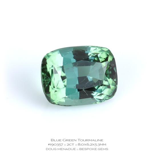 #190357, Blue Green Tourmaline, Rectangle Cushion, 2.00 Carats, 13.16X13.11X10.41mm - A beautiful natural Madagascar Madagascar - Doug Menadue :: Bespoke Gems - WWW.BESPOKE-GEMS.COM - Precision Gemcutting and Lapidary Services In Sydney Australia