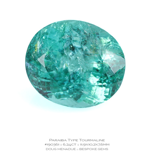 #190361, Minty Green Blue Lagoon Paraiba Type Tourmaline, Oval, 6.24 Carats, 13.16X13.11X10.41mm - A beautiful natural Mozambique Mozambique - Doug Menadue :: Bespoke Gems - WWW.BESPOKE-GEMS.COM - Precision Gemcutting and Lapidary Services In Sydney Australia