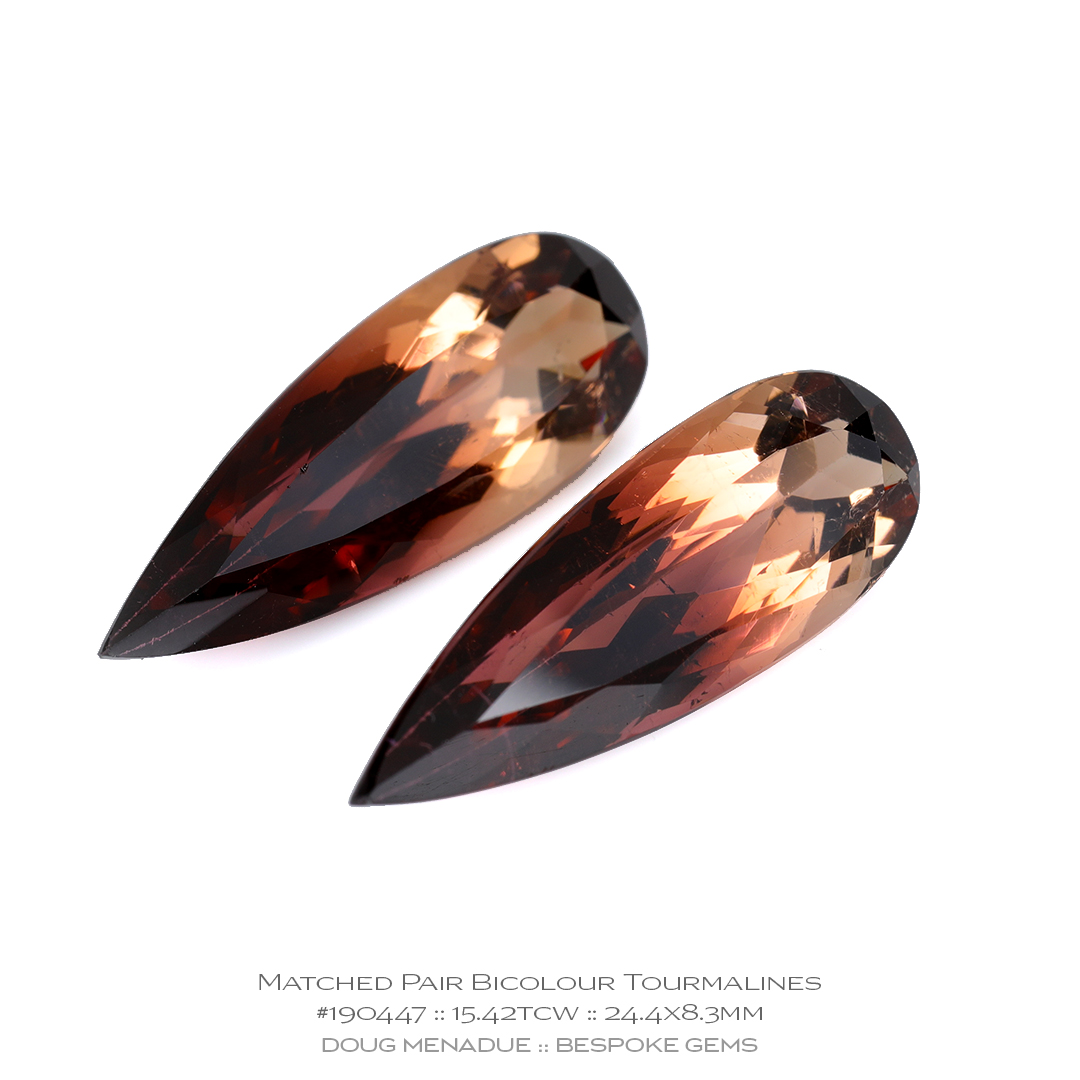 #190447, Bicolour Pinkish Brandy Tourmaline, Matched Pair Teardrop, 15.42 Carats, 13.16X13.11X10.41mm - Doug Menadue :: Bespoke Gems - WWW.BESPOKE-GEMS.COM - Precision Gemcutting and Lapidary Services In Sydney Australia