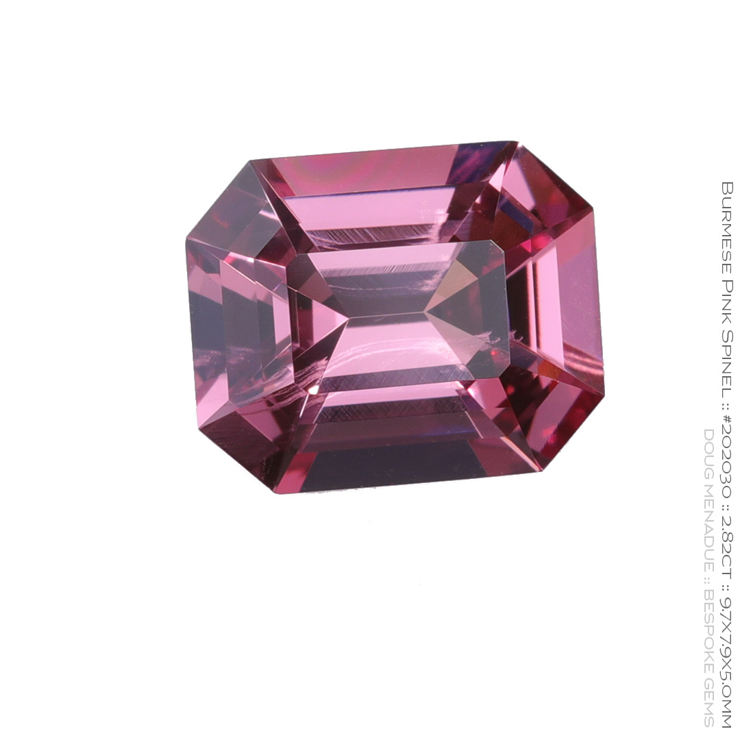 #202030, Pink Spinel, Emerald Cut, 2.83 Carats, 13.16X13.11X10.41mm - Doug Menadue :: Bespoke Gems - WWW.BESPOKE-GEMS.COM - Precision Gemcutting and Lapidary Services In Sydney Australia