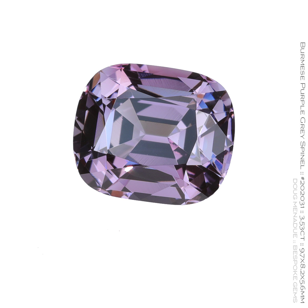 #202031, Purple Grey Spinel, Rectangle Cushion, 3.53 Carats, 13.16X13.11X10.41mm - Doug Menadue :: Bespoke Gems - WWW.BESPOKE-GEMS.COM - Precision Gemcutting and Lapidary Services In Sydney Australia