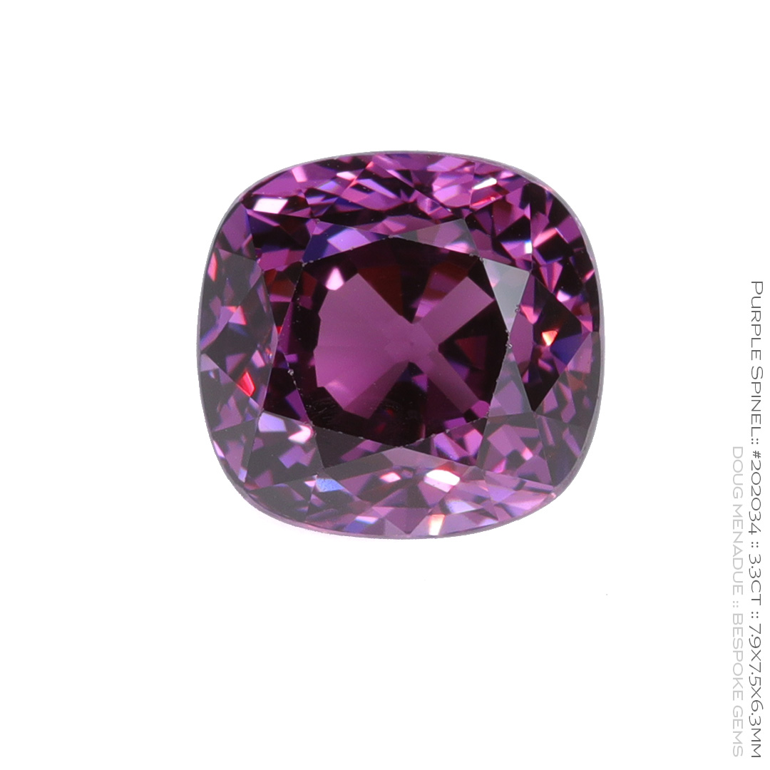 #202034, Purple Spinel, Cushion, 3.30 Carats, 13.16X13.11X10.41mm - Doug Menadue :: Bespoke Gems - WWW.BESPOKE-GEMS.COM - Precision Gemcutting and Lapidary Services In Sydney Australia