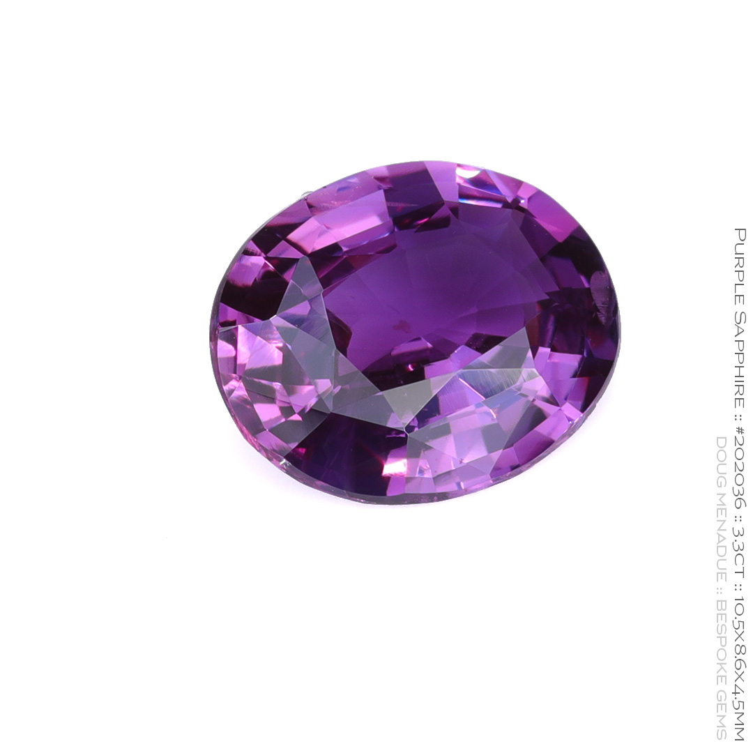 #202036, Purple Sapphire, Oval, 3.3 Carats, 13.16X13.11X10.41mm - Doug Menadue :: Bespoke Gems - WWW.BESPOKE-GEMS.COM - Precision Gemcutting and Lapidary Services In Sydney Australia