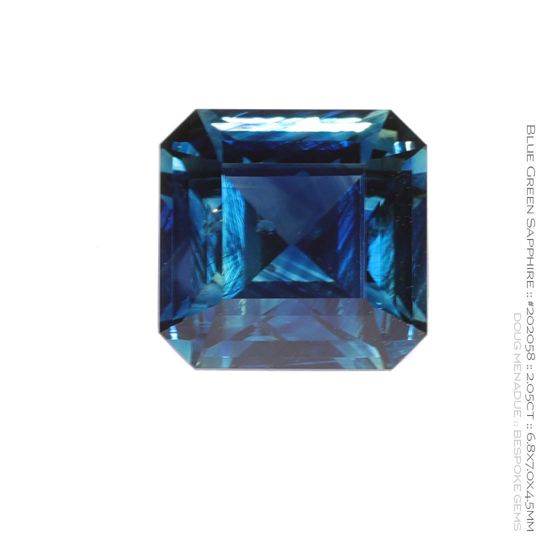 #202058, Blue Green Sapphire, Square Emerald Cut, 2.05 Carats, 13.16X13.11X10.41mm - Doug Menadue :: Bespoke Gems - WWW.BESPOKE-GEMS.COM - Precision Gemcutting and Lapidary Services In Sydney Australia