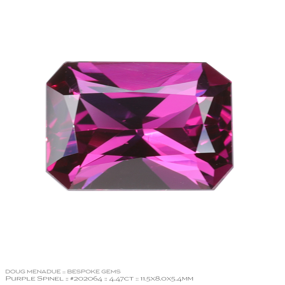 #202064, Purple Spinel, Rectangle Radiant, 4.47 Carats, 13.16X13.11X10.41mm - Doug Menadue :: Bespoke Gems - WWW.BESPOKE-GEMS.COM - Precision Gemcutting and Lapidary Services In Sydney Australia