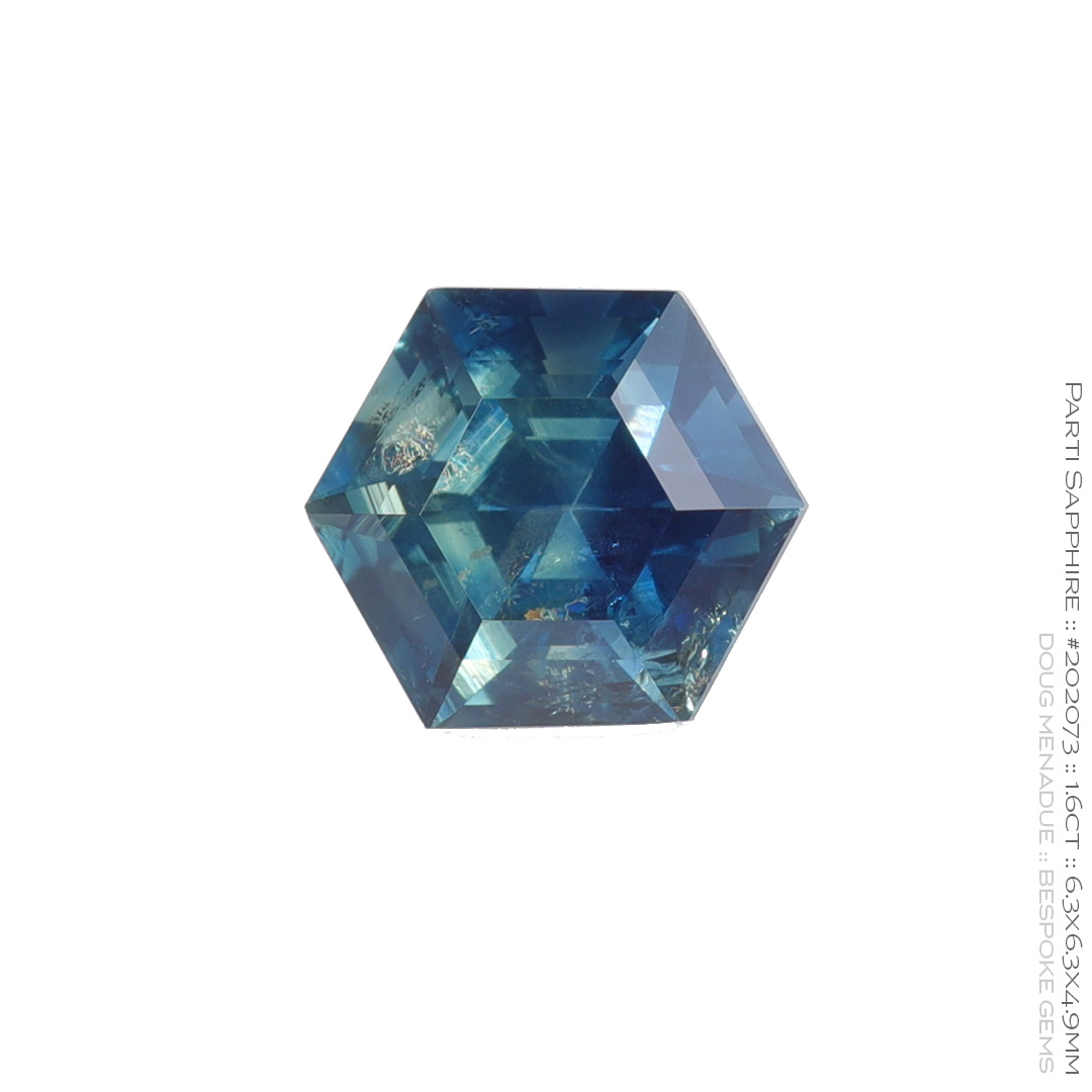 #202073, Parti Sapphire, Hexagon Step Cut, 1.60 Carats, 13.16X13.11X10.41mm - Doug Menadue :: Bespoke Gems - WWW.BESPOKE-GEMS.COM - Precision Gemcutting and Lapidary Services In Sydney Australia