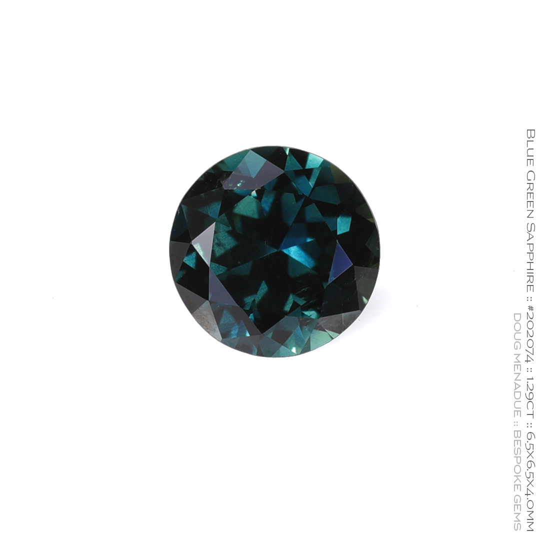 #202074, Blue Green Sapphire, Round Brilliant, 1.29 Carats, 13.16X13.11X10.41mm - Doug Menadue :: Bespoke Gems - WWW.BESPOKE-GEMS.COM - Precision Gemcutting and Lapidary Services In Sydney Australia