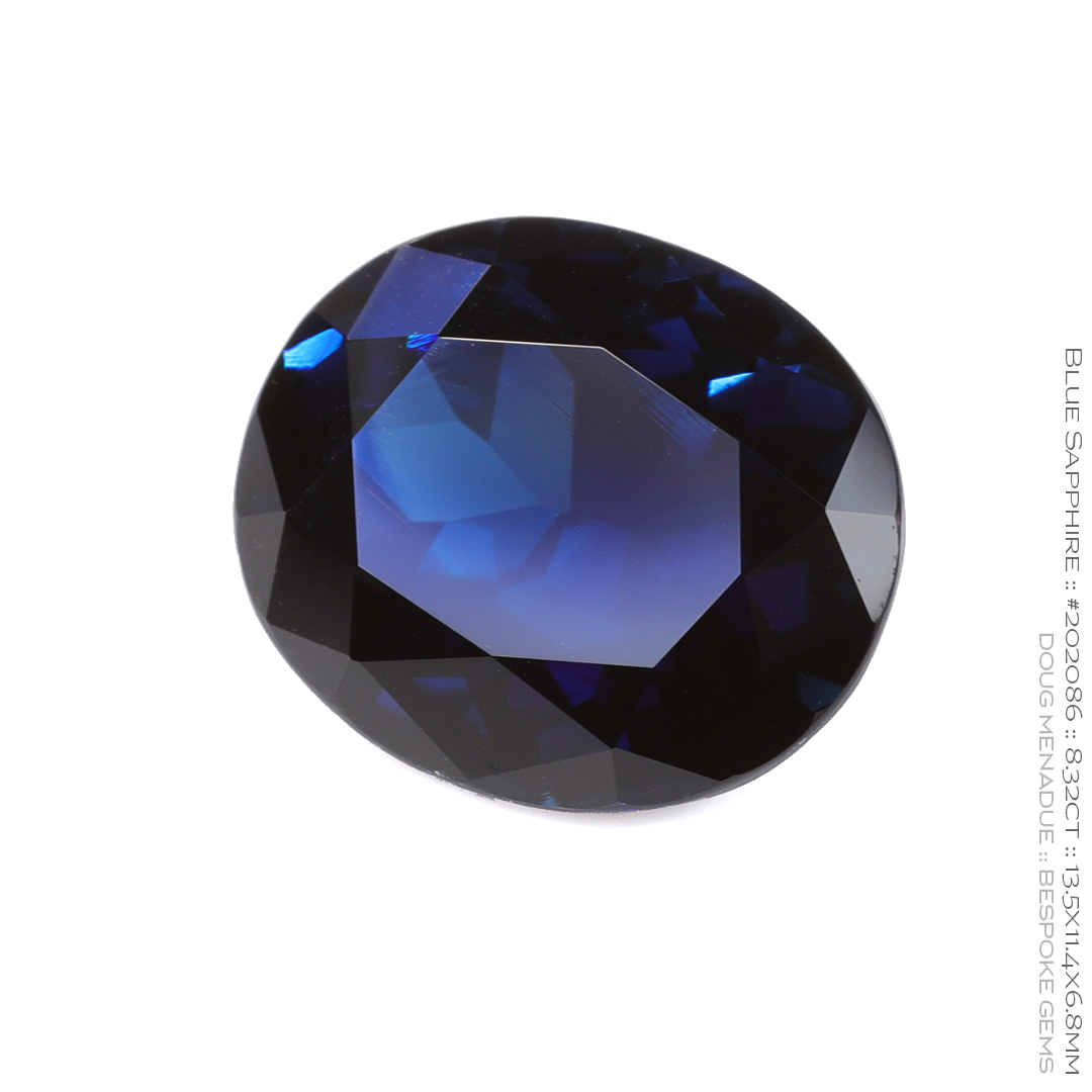 #202086, Blue Sapphire, Oval, 8.32 Carats, 13.16X13.11X10.41mm - Doug Menadue :: Bespoke Gems - WWW.BESPOKE-GEMS.COM - Precision Gemcutting and Lapidary Services In Sydney Australia