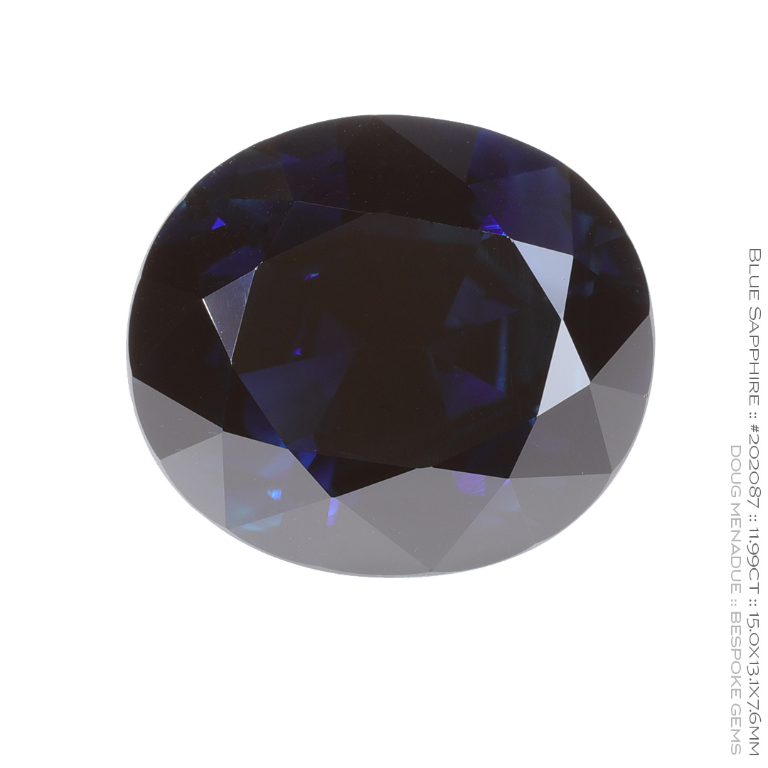 #202087, Blue Sapphire, Oval, 11.99 Carats, 13.16X13.11X10.41mm - Doug Menadue :: Bespoke Gems - WWW.BESPOKE-GEMS.COM - Precision Gemcutting and Lapidary Services In Sydney Australia
