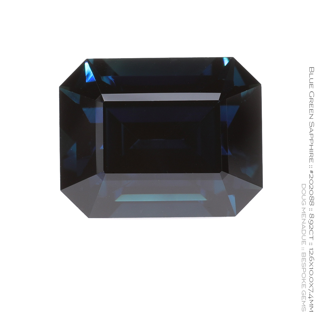 #202088, Blue Green Sapphire, Emerald Cut, 8.92 Carats, 13.16X13.11X10.41mm - Doug Menadue :: Bespoke Gems - WWW.BESPOKE-GEMS.COM - Precision Gemcutting and Lapidary Services In Sydney Australia