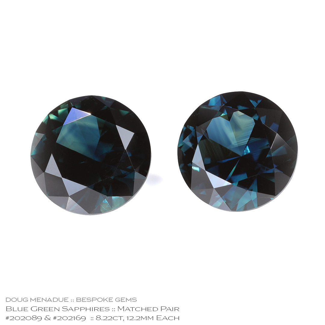 #202089-202169, Blue Green Sapphire, Round Brilliant, 8.22 Carats, 13.16X13.11X10.41mm - Doug Menadue :: Bespoke Gems - WWW.BESPOKE-GEMS.COM - Precision Gemcutting and Lapidary Services In Sydney Australia