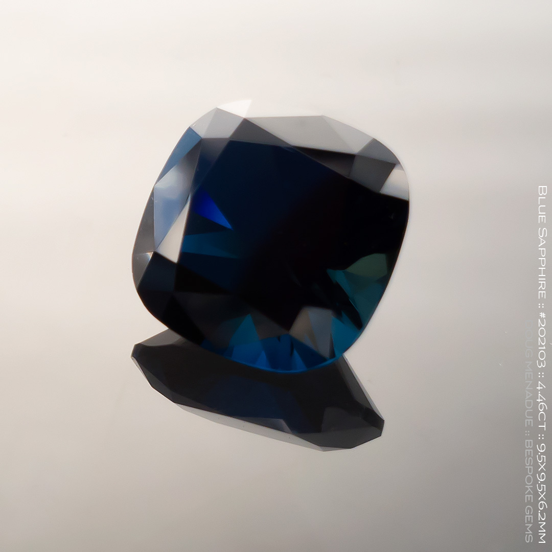 #202103, Blue Sapphire, Square Cushion, 4.46 Carats, 13.16X13.11X10.41mm - Doug Menadue :: Bespoke Gems - WWW.BESPOKE-GEMS.COM - Precision Gemcutting and Lapidary Services In Sydney Australia