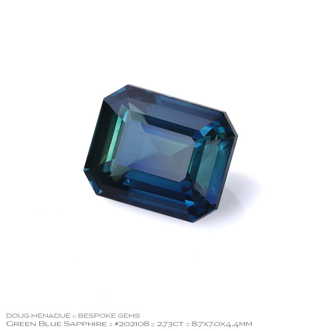 #202108, Green Blue Sapphire, Emerald Cut, 2.73 Carats, 13.16X13.11X10.41mm - Doug Menadue :: Bespoke Gems - WWW.BESPOKE-GEMS.COM - Precision Gemcutting and Lapidary Services In Sydney Australia