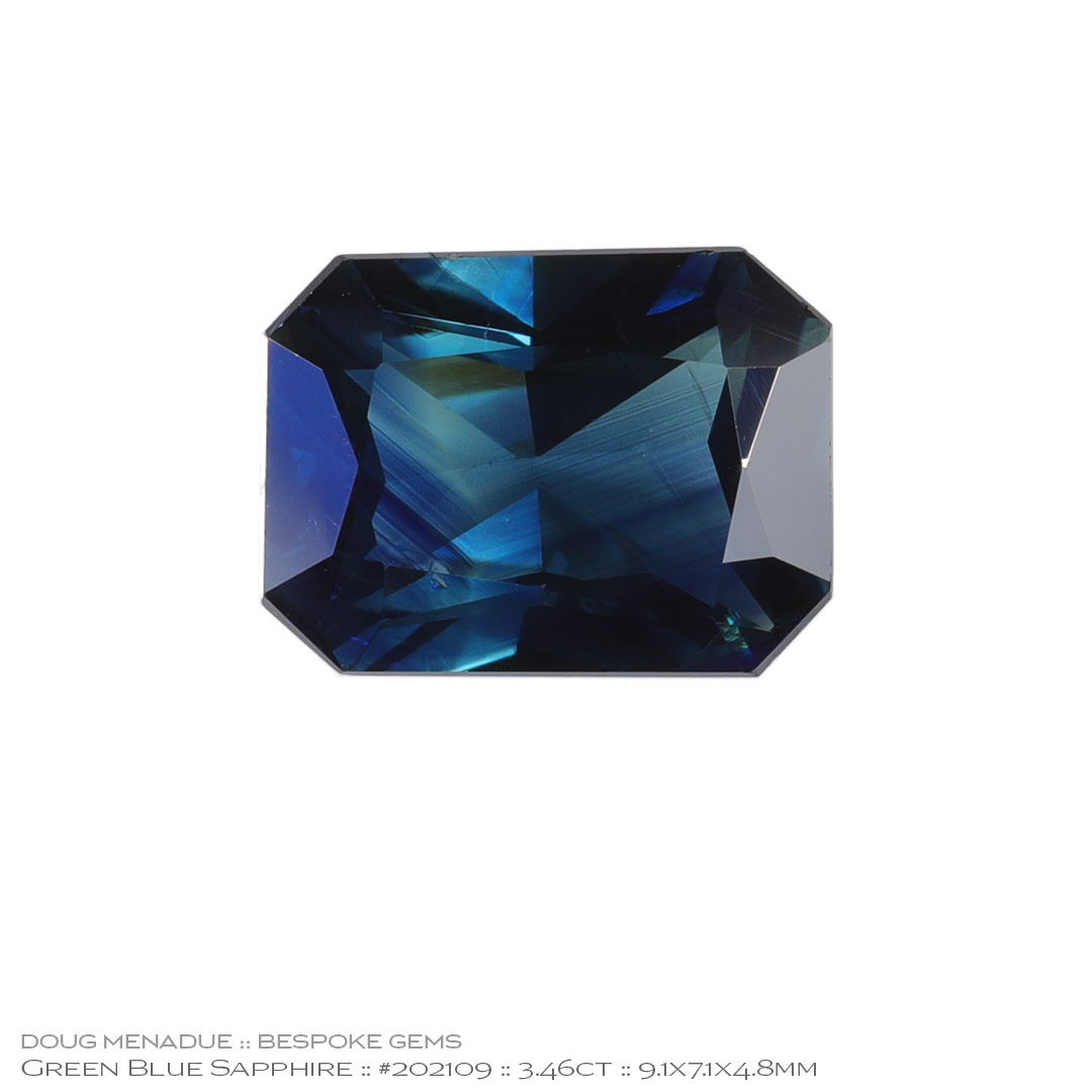 #202109, Blue Green Sapphire, Rectangle Radiant, 3.46 Carats, 13.16X13.11X10.41mm - Doug Menadue :: Bespoke Gems - WWW.BESPOKE-GEMS.COM - Precision Gemcutting and Lapidary Services In Sydney Australia