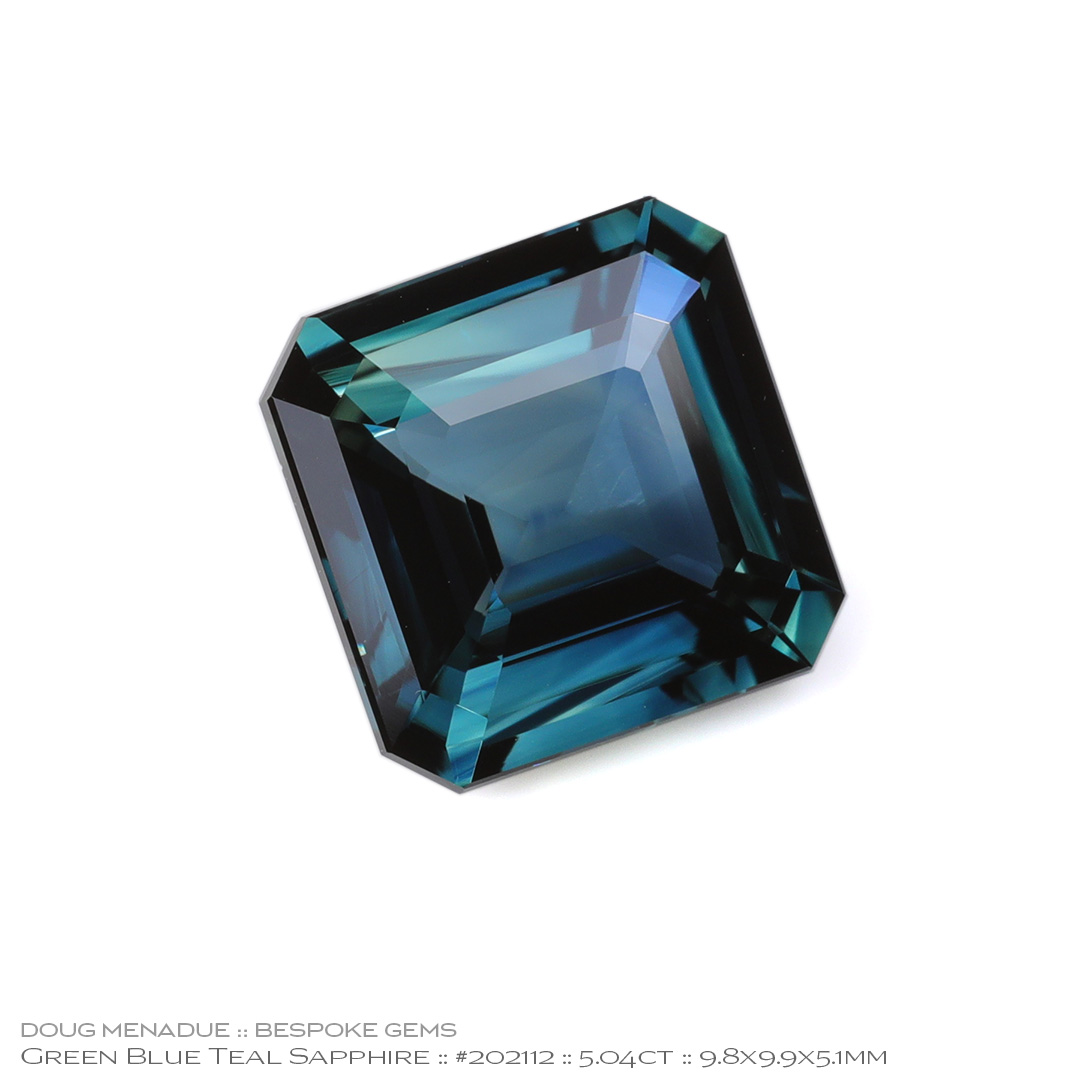 #202112, Blue Green Teal Sapphire, Square Emerald Cut, 5.04 Carats, 13.16X13.11X10.41mm - Doug Menadue :: Bespoke Gems - WWW.BESPOKE-GEMS.COM - Precision Gemcutting and Lapidary Services In Sydney Australia
