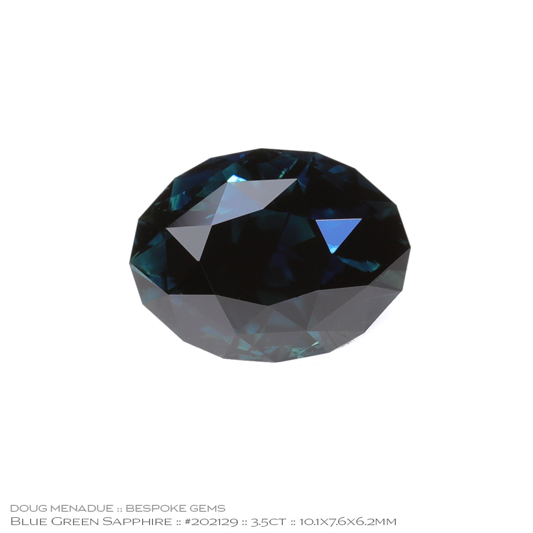 #202129, Blue Green Sapphire, Supernova Oval, 3.50 Carats, 13.16X13.11X10.41mm - Doug Menadue :: Bespoke Gems - WWW.BESPOKE-GEMS.COM - Precision Gemcutting and Lapidary Services In Sydney Australia