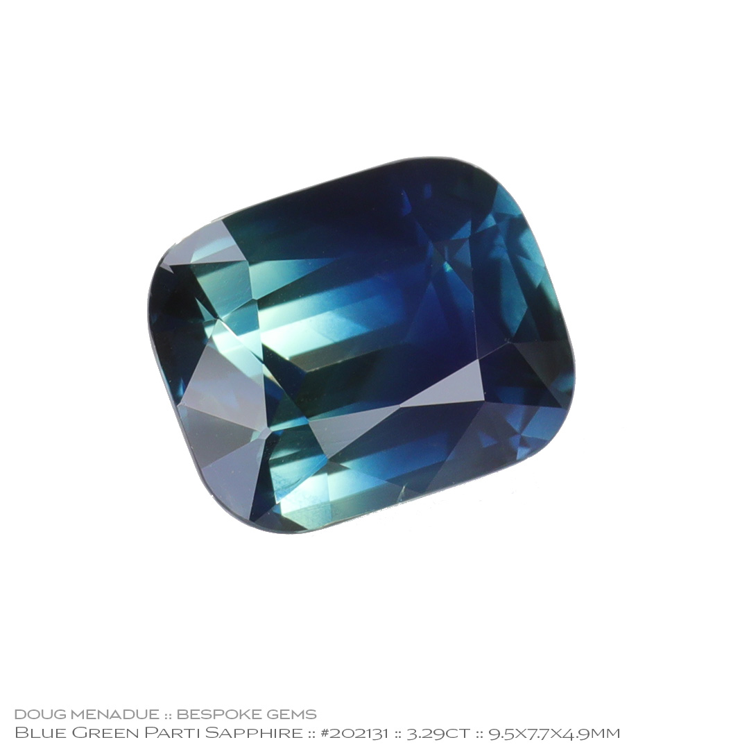 #202131, Blue Green Sapphire, Cushion, 3.29 Carats, 13.16X13.11X10.41mm - Doug Menadue :: Bespoke Gems - WWW.BESPOKE-GEMS.COM - Precision Gemcutting and Lapidary Services In Sydney Australia
