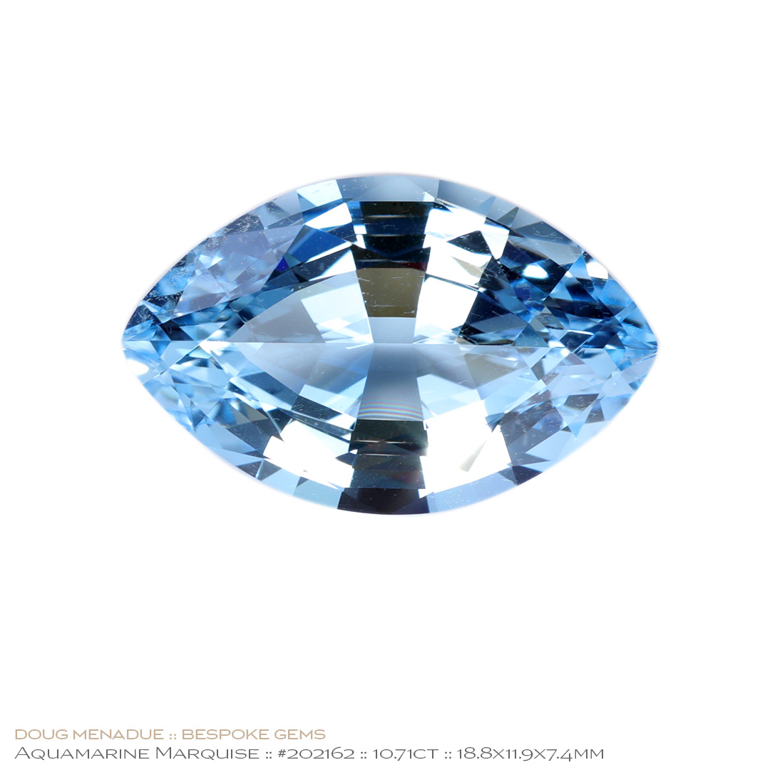 #202162, Blue Aquamarine, Marquise, 10.71 Carats, 13.16X13.11X10.41mm - Doug Menadue :: Bespoke Gems - WWW.BESPOKE-GEMS.COM - Precision Gemcutting and Lapidary Services In Sydney Australia