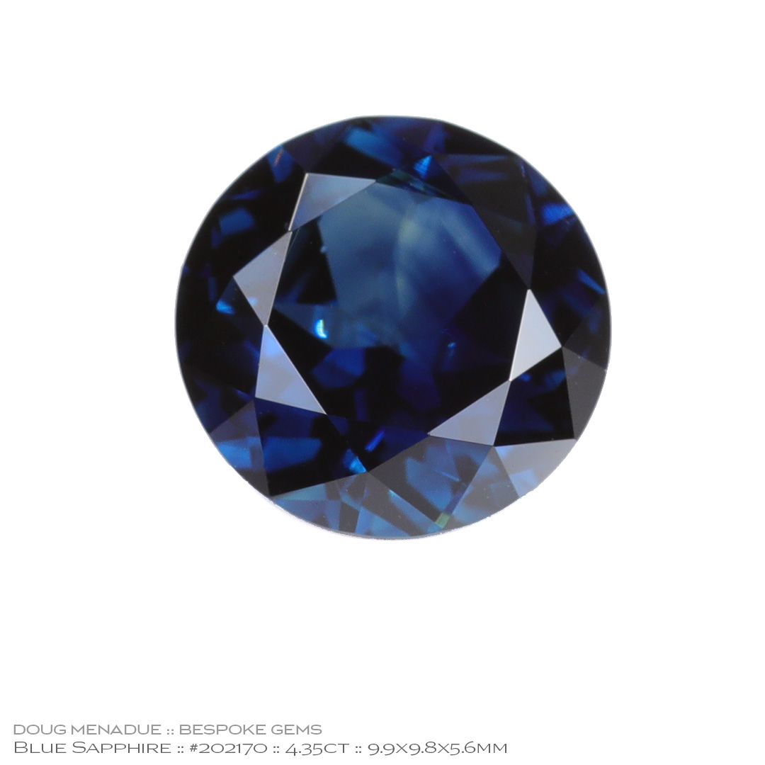 #202170, Blue Sapphire, Round Brilliant, 4.35 Carats, 13.16X13.11X10.41mm - Doug Menadue :: Bespoke Gems - WWW.BESPOKE-GEMS.COM - Precision Gemcutting and Lapidary Services In Sydney Australia