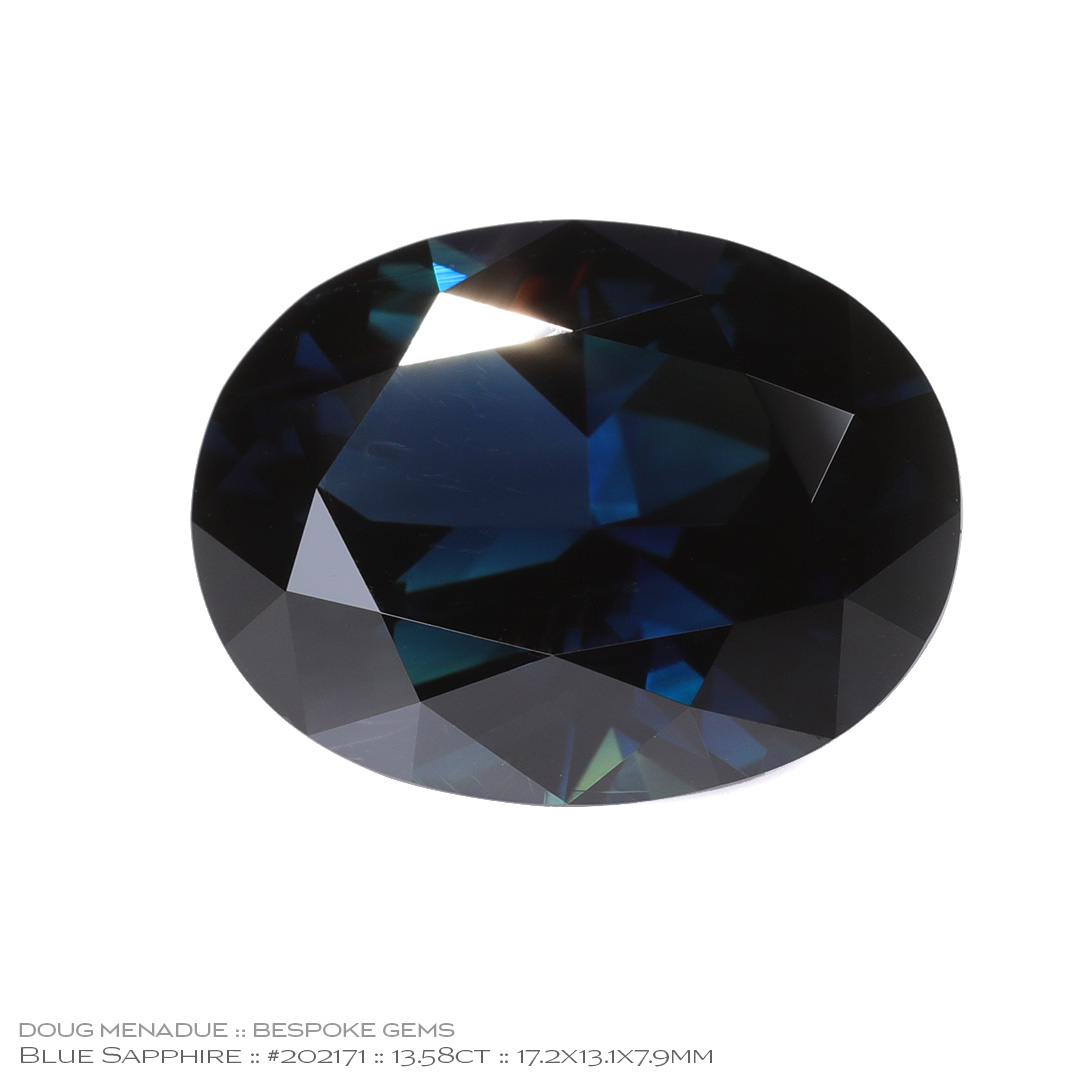 #202171, Blue Sapphire, Oval, 13.58 Carats, 13.16X13.11X10.41mm - Doug Menadue :: Bespoke Gems - WWW.BESPOKE-GEMS.COM - Precision Gemcutting and Lapidary Services In Sydney Australia