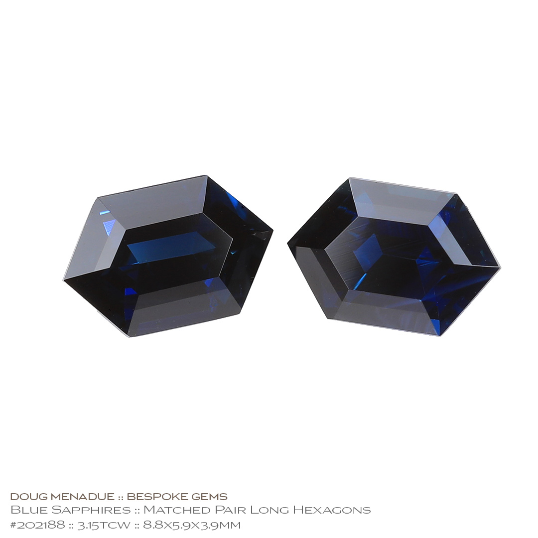 #202188, Blue Sapphire, Matched Pair Long Hexagon Cut, 3.15 Carats, 13.16X13.11X10.41mm - Doug Menadue :: Bespoke Gems - WWW.BESPOKE-GEMS.COM - Precision Gemcutting and Lapidary Services In Sydney Australia