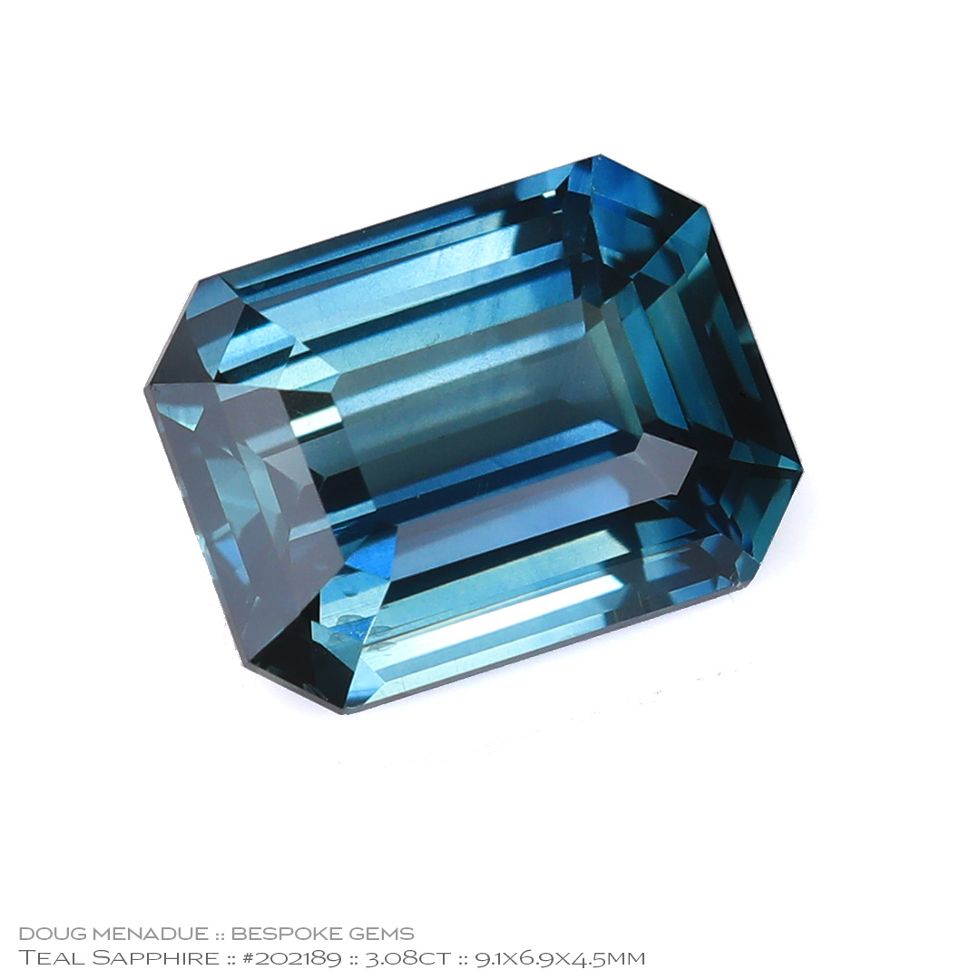 #202189, Teal Sapphire, Emerald Cut, 3.08 Carats, 13.16X13.11X10.41mm - Doug Menadue :: Bespoke Gems - WWW.BESPOKE-GEMS.COM - Precision Gemcutting and Lapidary Services In Sydney Australia