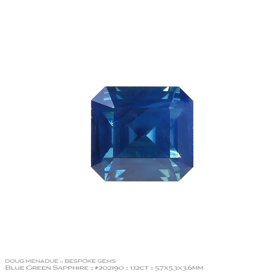 #202190, Blue Green Sapphire, Step Cut, 1.12 Carats, 13.16X13.11X10.41mm - Doug Menadue :: Bespoke Gems - WWW.BESPOKE-GEMS.COM - Precision Gemcutting and Lapidary Services In Sydney Australia